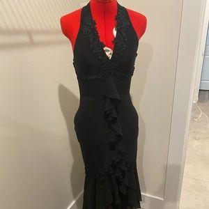 Black Halter Knee length dress